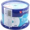 Диск Verbatim CD-R 700Mb 80min 52х,  Cake Box, 50шт., AZO, Printable, (43309)