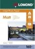 Бумага для стр. принтеров (160г/м2, 100л, А4 матовая 1-ст)  0102005 Lomond