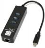 Сетевая карта USB 5bites USB3.1->3*USB3.0->RJ45 Адаптер USB3.0/3.1 1Gb (UA3C-45-10BK)