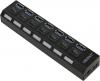 Разветвитель USB HUB 7 портов ORIENT BC-317 c БП-зарядником USB (5В, 3А), выключатели на каждый порт